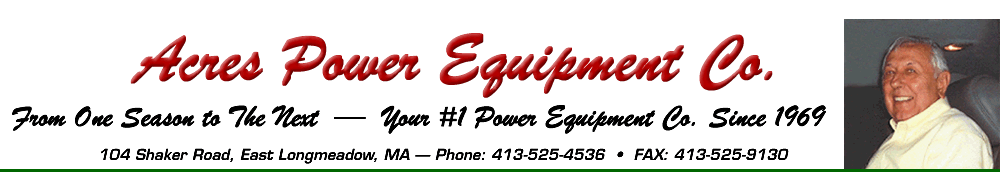 Acres Power Equipment Co., From One Season to the Next - Your #1 Power Equipment Co., Since 1969